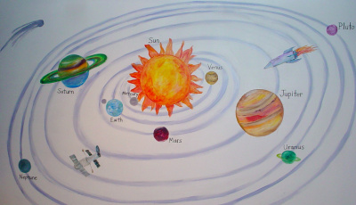 solar system mural in kids play room