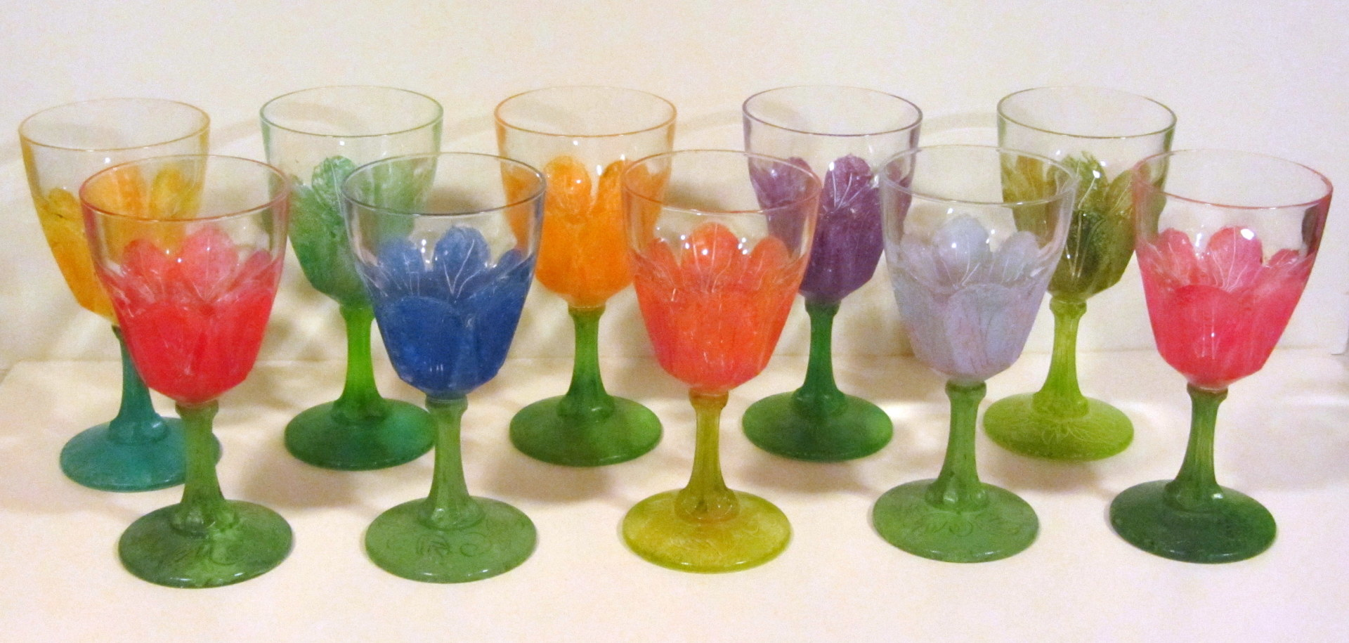 set of painted wine glasses